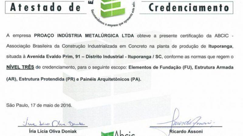 Proaço Estruturas conquista o Selo de Excelência ABCIC Nível II em estruturas pré-fabricadas em conc
