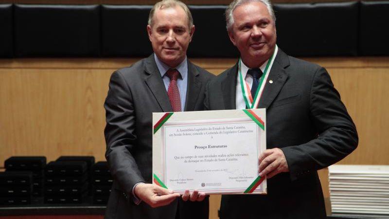 Proaço Estruturas recebeu a Comenda do Legislativo Catarinense.